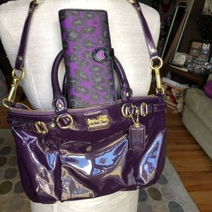 Coach purple patent bag & leopard wallet